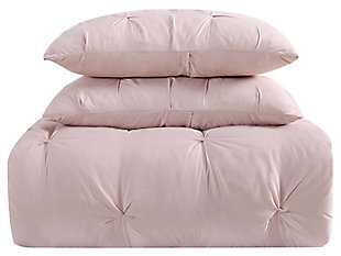 Pleated Twin XL Duvet Set, Blush Pink, large