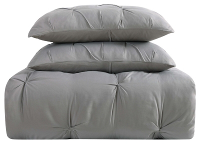 Pleated Twin XL Comforter Set, Gray, large