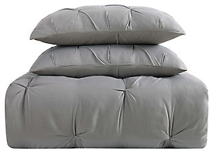 Pleated Twin XL Duvet Set, Gray, large