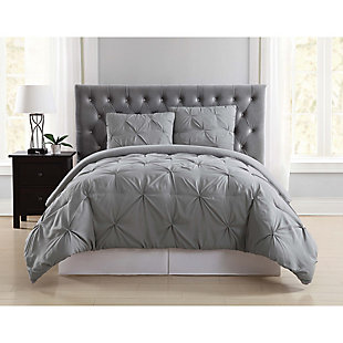 Pleated Twin XL Duvet Set, Gray, rollover