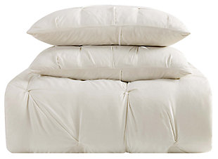 Pleated Twin XL Duvet Set, Ivory, large