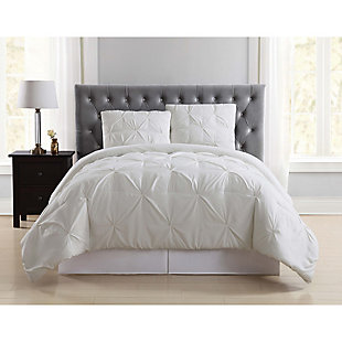 Pleated Twin XL Duvet Set, Ivory, rollover