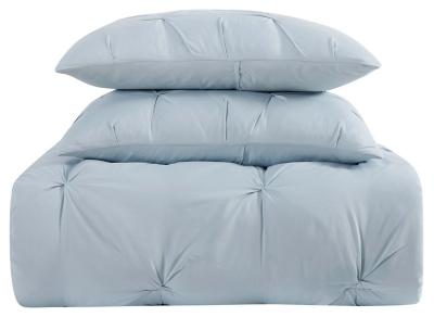 Pleated Twin XL Comforter Set, Light Blue, large