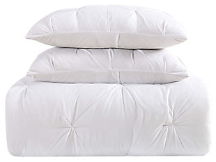 Pleated Twin XL Duvet Set, White, large