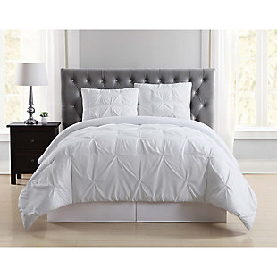 Pleated Twin XL Duvet Set, White, rollover