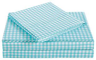 3 Piece Twin Sheet Set, Aqua, large