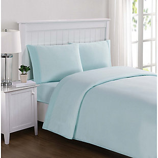 3 Piece Jersey Twin Sheet Set, Aqua, rollover