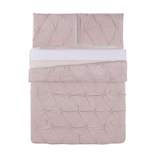 3 Piece Velvet Full/Queen Duvet Set, Blush Pink, large