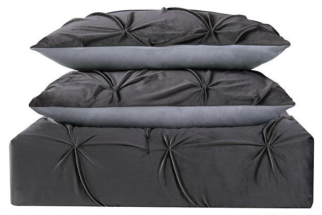 Pleated Velvet Full/Queen Duvet Set, Gray, large