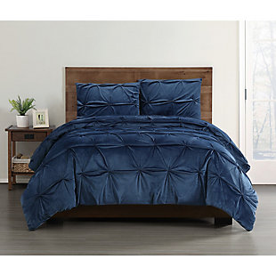 Pleated Velvet Full/Queen Comforter Set, , rollover