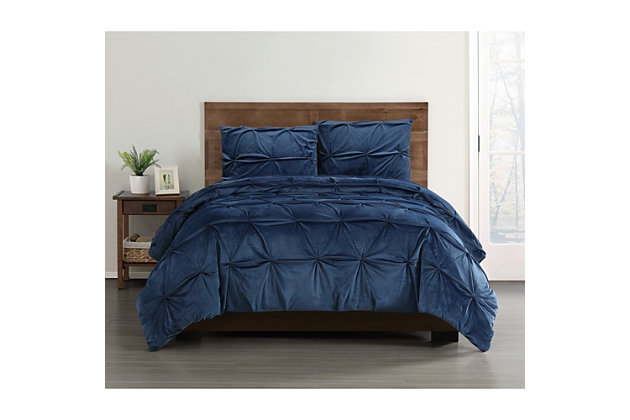 Pleated Velvet Full/Queen Comforter Set, , large
