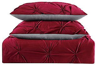 Pleated Velvet Full/Queen Duvet Set, Red, large
