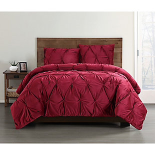 Pleated Velvet Full/Queen Duvet Set, Red, rollover
