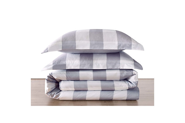 Plaid Twin XL Duvet Set, Gray/White, large