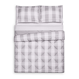 Plaid Twin XL Comforter Set, Gray/White, large
