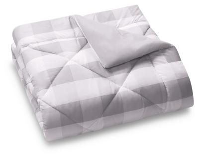 Plaid Twin XL Duvet Set, Gray/White, large