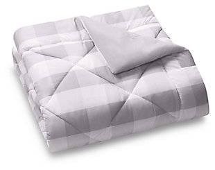 Plaid King Comforter Set, Gray/White, large