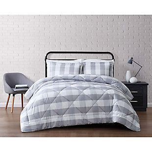 Plaid King Comforter Set, Gray/White, rollover