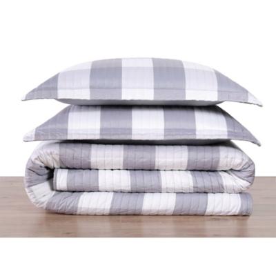 Plaid Twin XL Quilt Set, Gray/White, large
