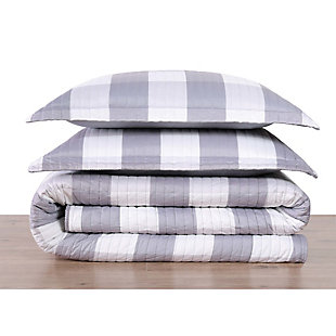 Plaid Twin XL Quilt Set, Gray/White, large