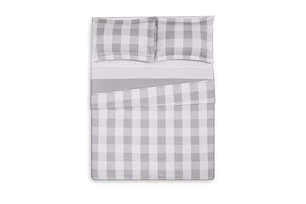 2 Piece Twin XL Quilt Set, Gray/White, large