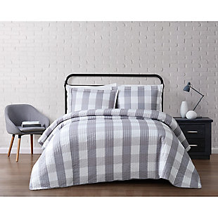 Plaid Twin XL Quilt Set, Gray/White, rollover