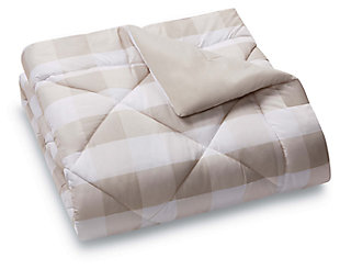 Plaid Twin XL Duvet Set, Khaki/White, large