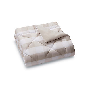 Plaid Twin XL Duvet Set, Khaki/White, large