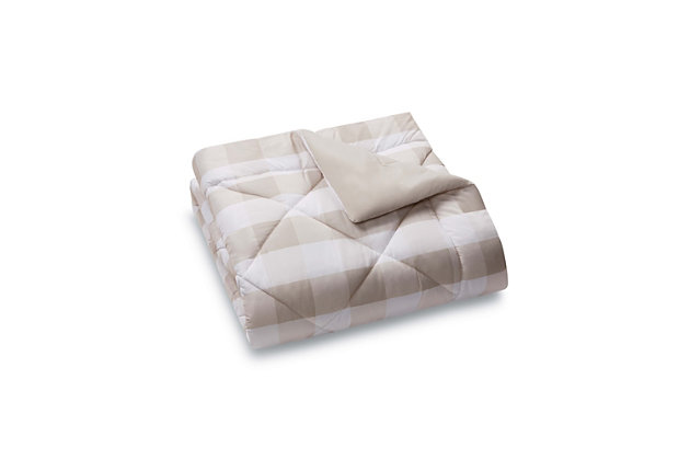 Plaid Twin XL Comforter Set, Khaki/White, large