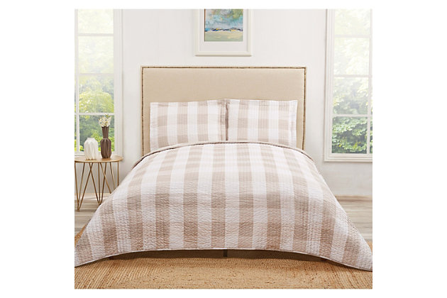 Plaid Twin XL Quilt Set, Khaki/White, large