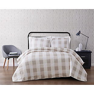 Plaid Twin XL Quilt Set, Khaki/White, rollover