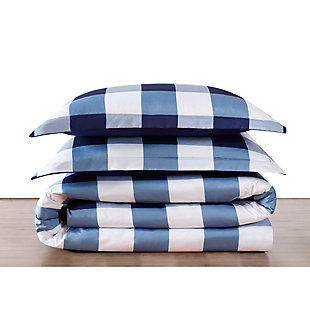 Plaid Twin XL Comforter Set, White/Navy, large