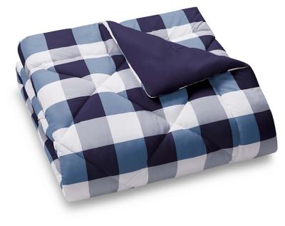 Plaid Twin XL Comforter Set, White/Navy, large