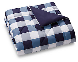 Plaid King Comforter Set, White/Navy, large