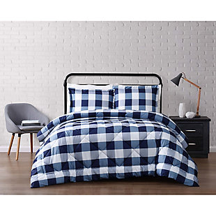 Plaid King Comforter Set, White/Navy, rollover
