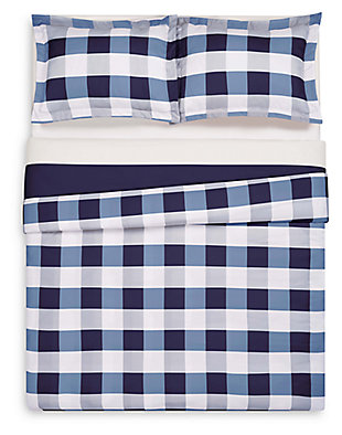 Plaid Twin XL Duvet Set, White/Navy, large