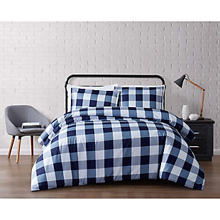 Plaid Twin XL Duvet Set, White/Navy, rollover