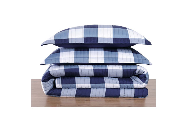 Plaid Twin XL Quilt Set, White/Navy, large