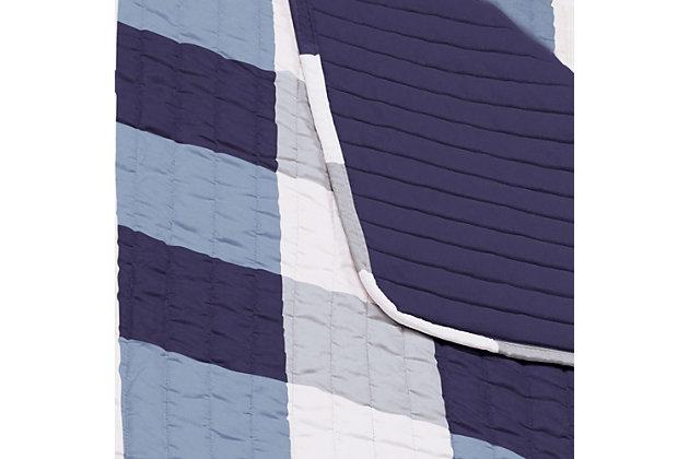 Plaid Twin XL Quilt Set, White/Navy, large