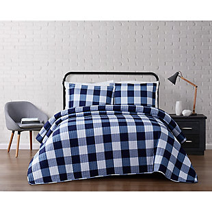 Plaid Twin XL Quilt Set, White/Navy, rollover