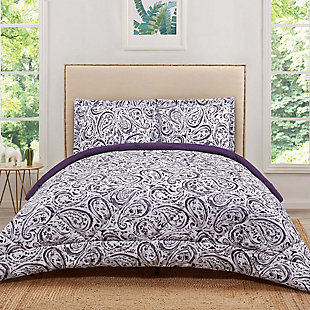 2 Piece Twin XL Comforter Set, Eggplant, rollover