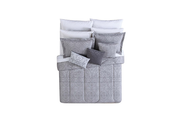 Floral Print Queen Comforter Set, Gray/White, large