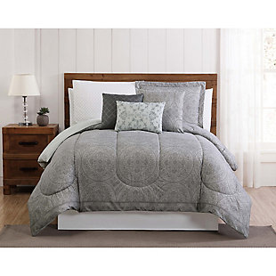 12 Piece Queen Comforter Set, Gray/White, rollover