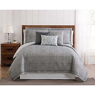 Floral Print Queen Quilt Set, Gray/White, rollover