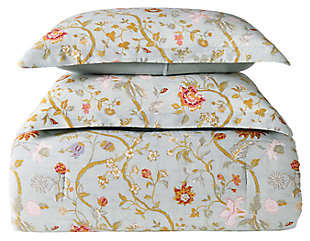 Floral Print Twin XL Comforter Set, Blush Pink/Blue, large