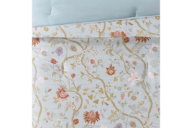 Floral Print Twin XL Comforter Set, Blush Pink/Blue, large