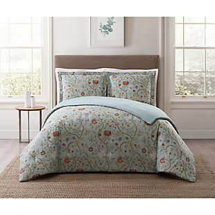 Floral Print Twin XL Comforter Set, Blush Pink/Blue, rollover