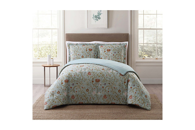 2 Piece Twin XL Comforter Set, Blush Pink/Blue, large
