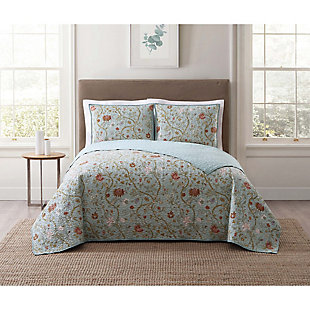 Floral Print Twin XL Quilt Set, Blush Pink/Blue, rollover