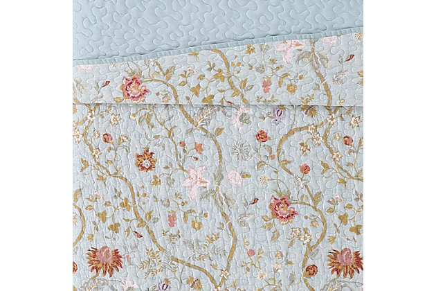 Floral Print Twin XL Quilt Set, Blush Pink/Blue, large